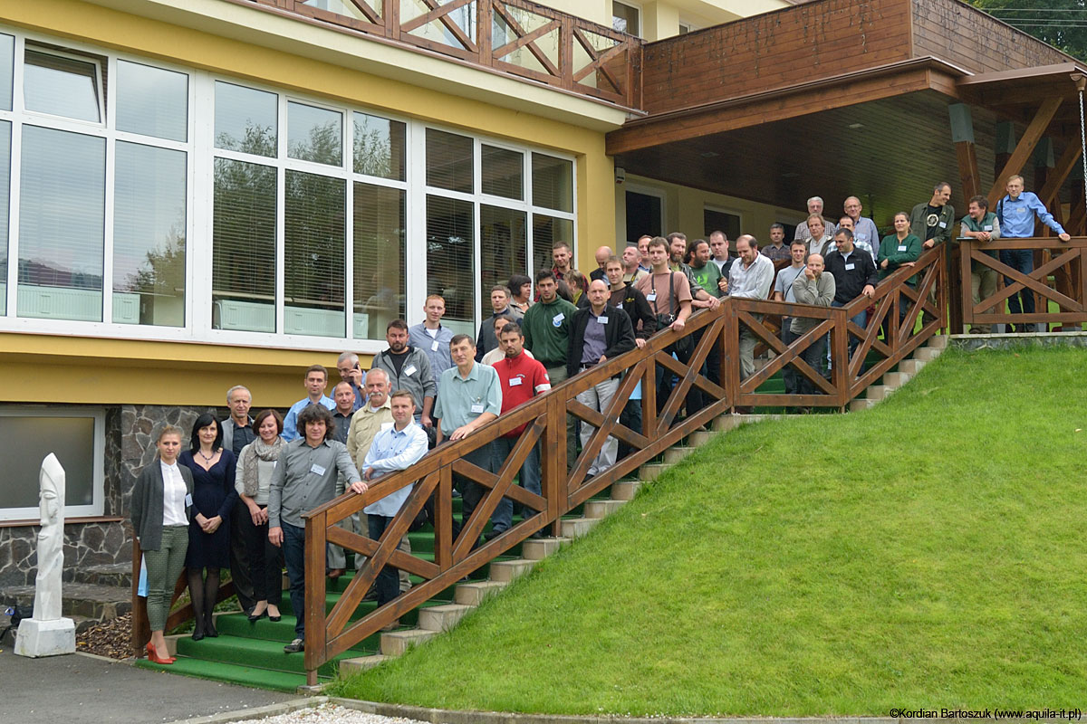 The participants of the international conference on conservation of the Lesser Spotted Eagle in Kosicka Bela, Slovakia.